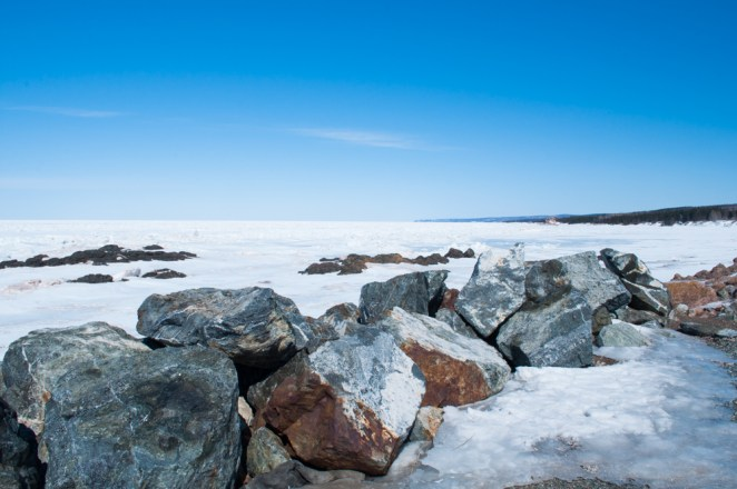 Looking out over the Northumberland Strait that is full of ice.