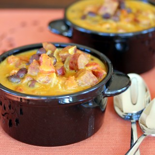Pumpkin, Chorizo and Black Bean Soup