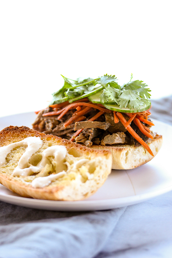 banh mi inspired slow cooker steak sandwiches something special