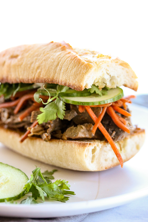 Banh Mi Inspired Slow Cooker Steak Sandwiches
