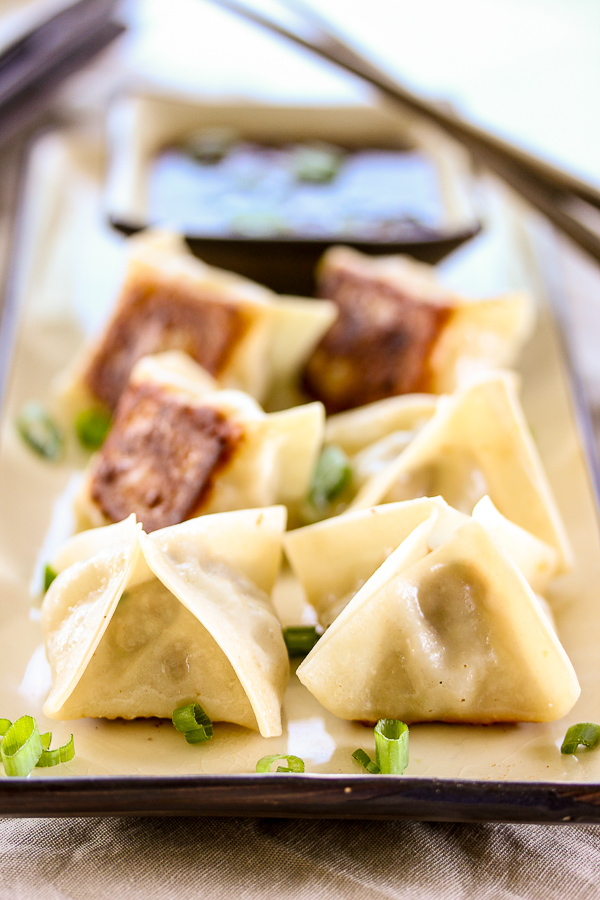 Pork potstickers with sesame soy dipping sauce are perfect for game ...