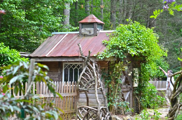 Opposite axis holds this tin covered garden shed