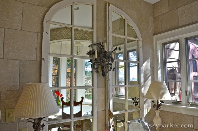 Antique windows are used for mirrors in the Master bathroom ... Great idea