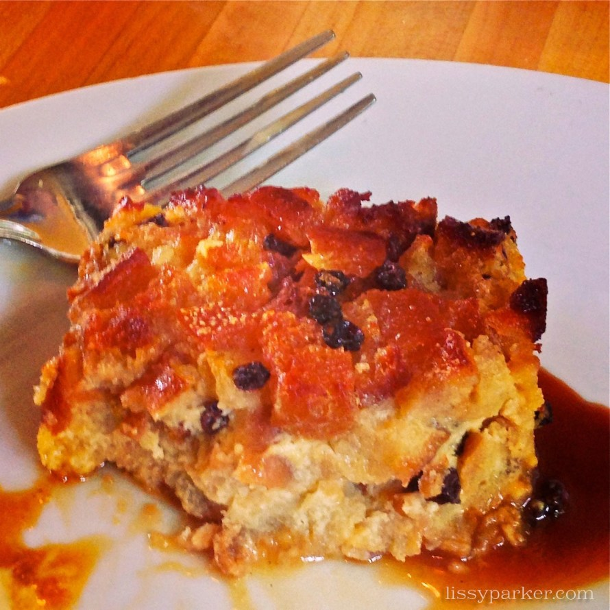 You have to try the bread pudding—even brought one home for Mr. P.