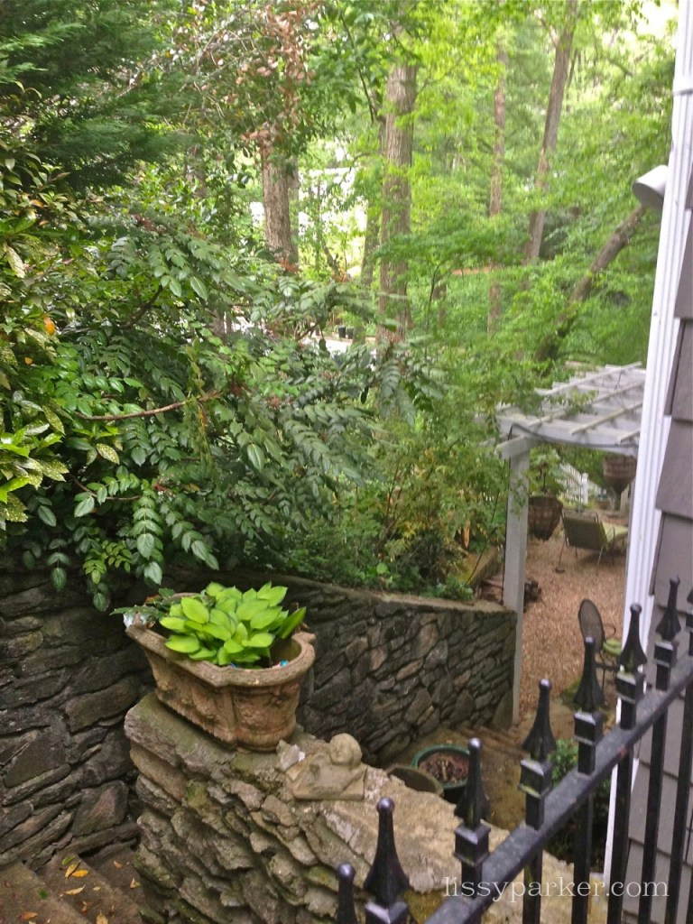 View of the side patio—granite walls were built in the 40's