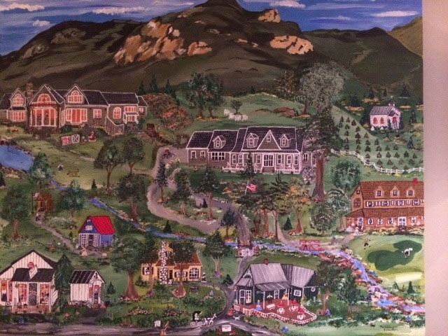 This original painting by Madeline    features the Powell house and family along with their favorite area haunts