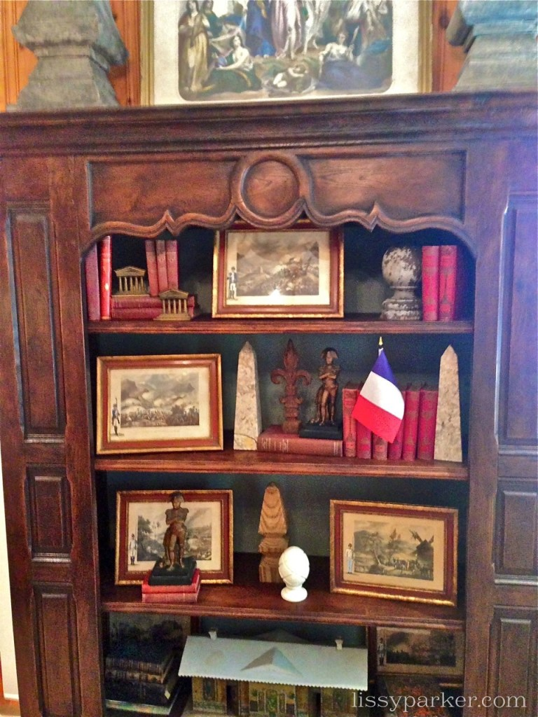 Charming displays are featured all through the room
