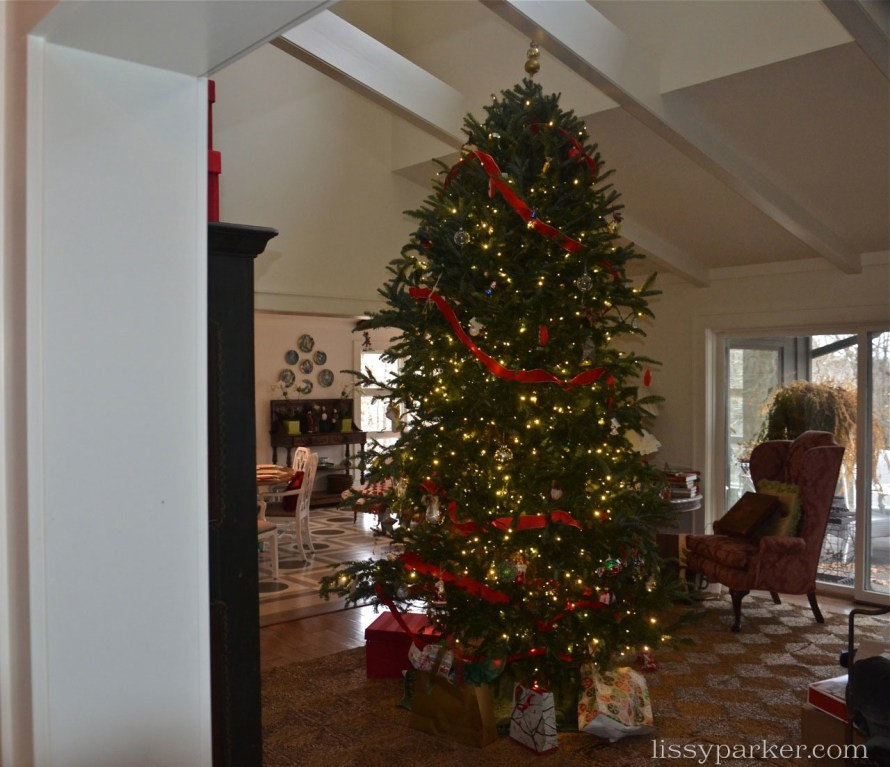 This is what happens when you send boys to buy a 9 foot tree—and 4 feet were cut off