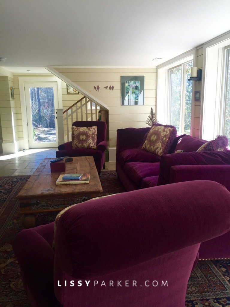 'Grape' sofa and chair welcome you to the room