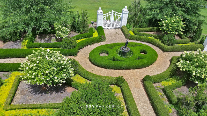 Formal boxwood entry garden