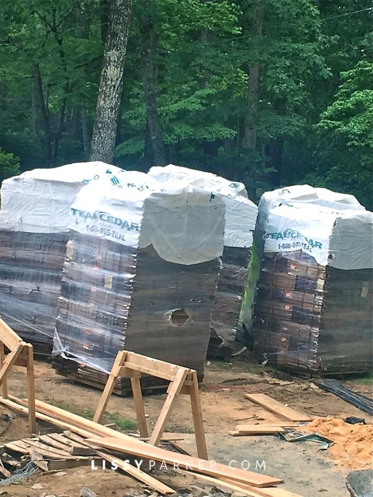 stacks of cedar shakes