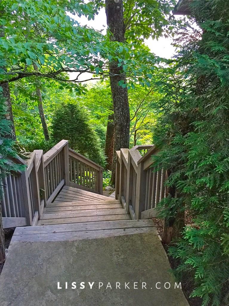 house crush wooden steps to a garden overlook
