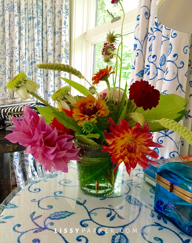 colorful flowers on a bedside table
