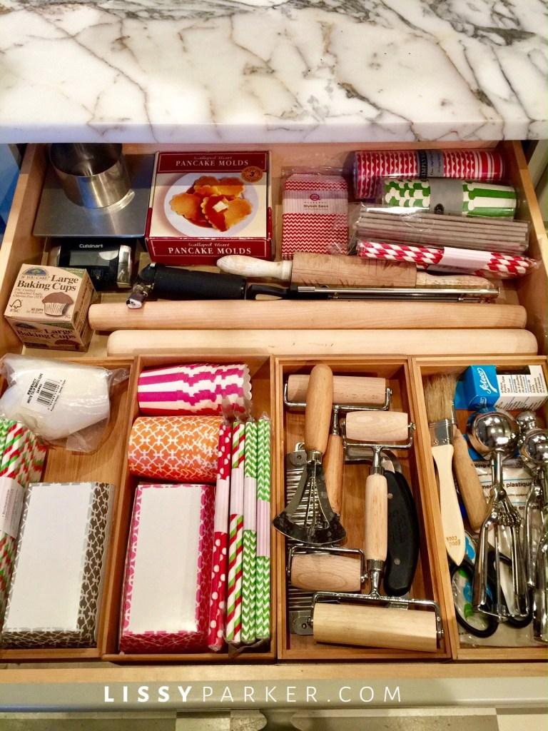 organizing kitchne baking drawer