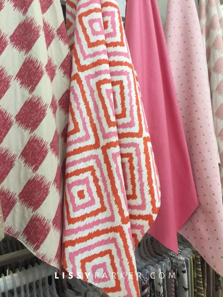 pink and orange geometric fabric