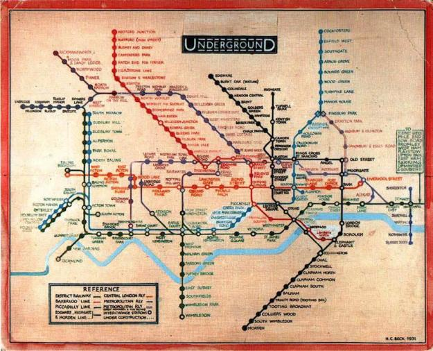 London Underground map from 1931 by Harry Beck