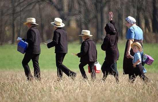 Amish Family Walking