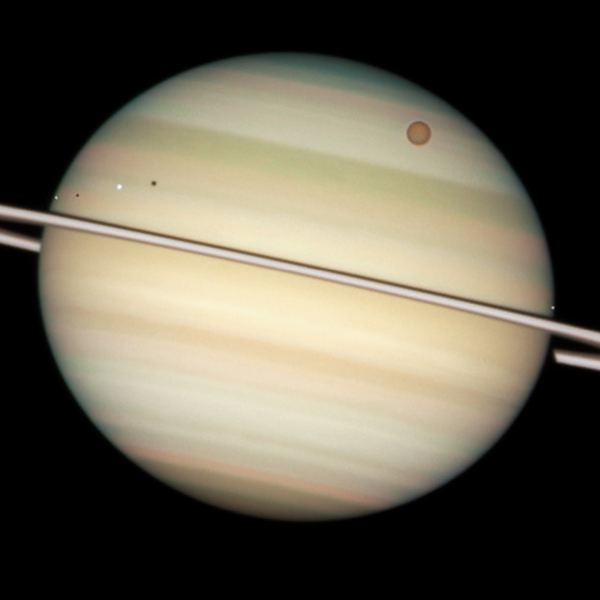 Saturn and 4 moons
