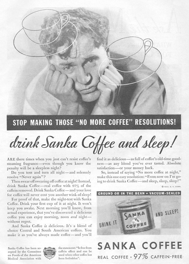 Sanka Decaffinated Coffee Advertisement, 1932