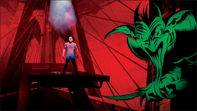 "The opening scene from the musical ""Spider-Man: Turn Off the Dark"" during a rehearsal in New York."