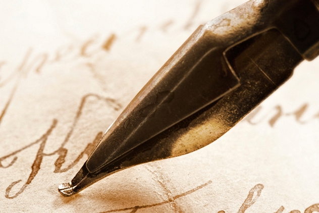 Ancient letter and ink feath