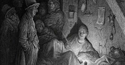 Vintage engraving showing a scene from 19th Century London England. Showing people smoking opium in a Whitechapel opium den circa 1870.