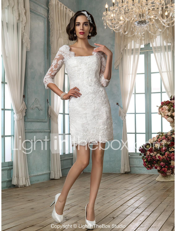 Ivory White Short Wedding Dresses short ivory wedding dresses LAN TING BRIDE Sheath Column Wedding Dress Chic Modern Reception Little White Dress