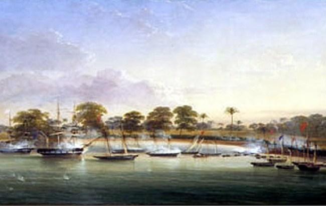 Oba Kosoko of Lagos attacked by British men of war 1851