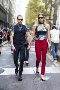 Milan FWSS2014, outside Dolce & Gabbana, Veronika Heilbrunner and Justin O'Shea