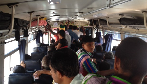 Time to make friends in the crowded Sri Lankan bus