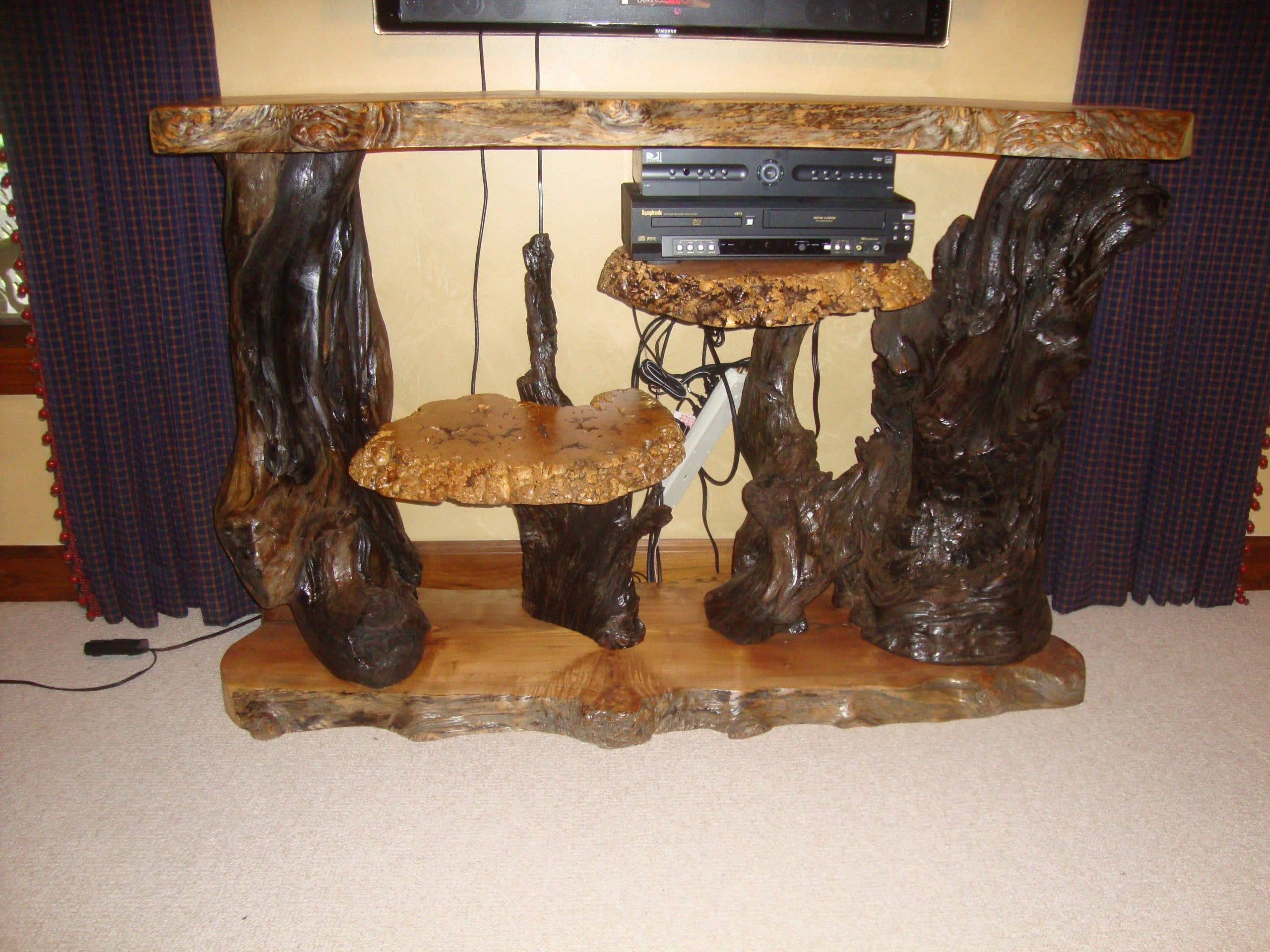 Burl furniture crafted using natural live edge wood slabs