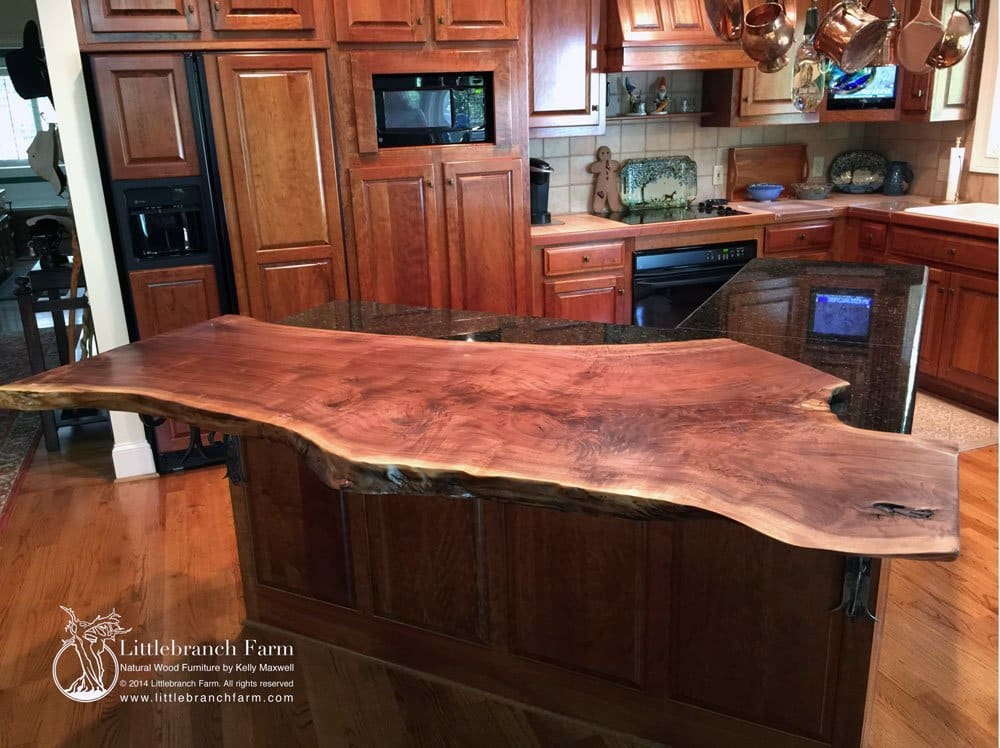Natural wood countertops littlebranch farm for Natural edge wood countertops