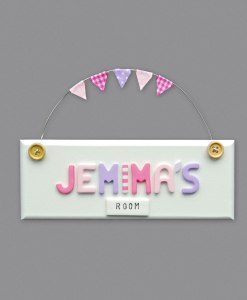 girls bedroom door sign white