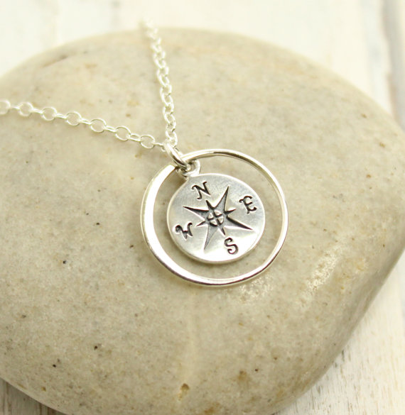 Compass Necklace by TinyCottageTreasures on Etsy
