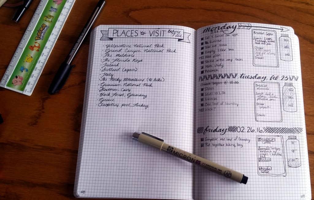 How to start a bullet journal example spread   Littlecoffeefox.com