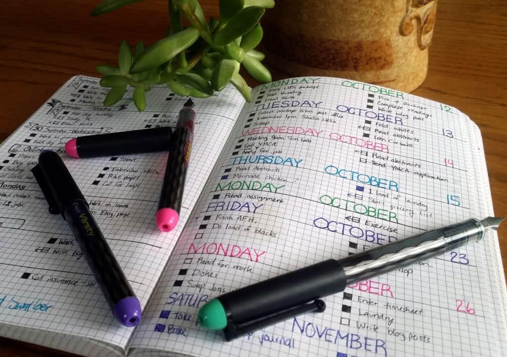 How to Start a Bullet Journal spread with pens   Littlecoffeefox.com