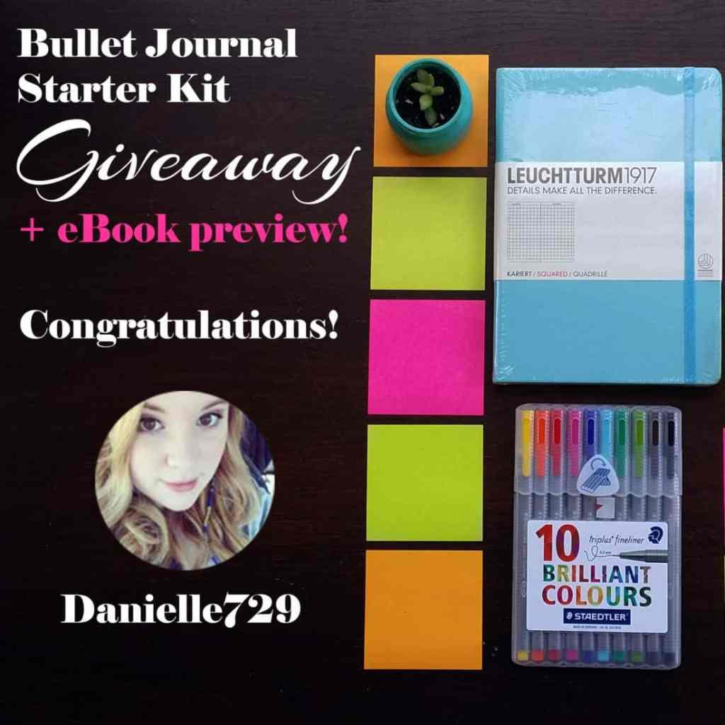 Bullet Journal Starter Kit Giveaway Instagram Winner