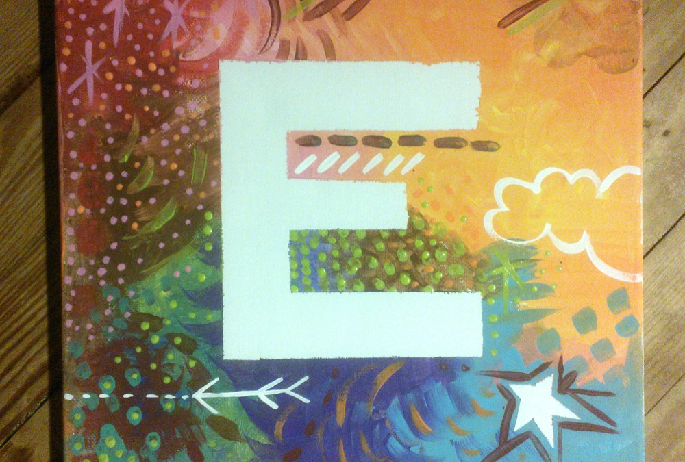 making things everyday: monogram painted canvas