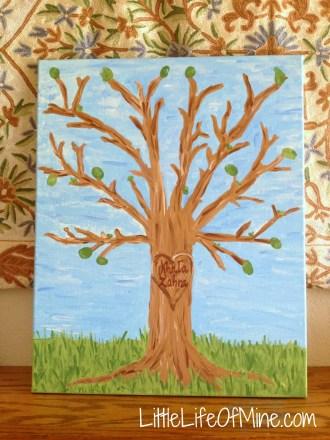 Thumbprint Tree Canvas - Teacher's Gift