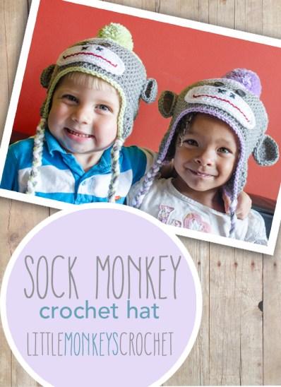 Sock Monkey Crochet Hat  |  Free 6-12m Pattern by Little Monkeys Crochet