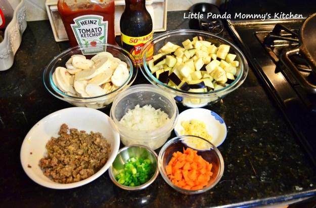 eggplant and sausage thin spaghetti 1