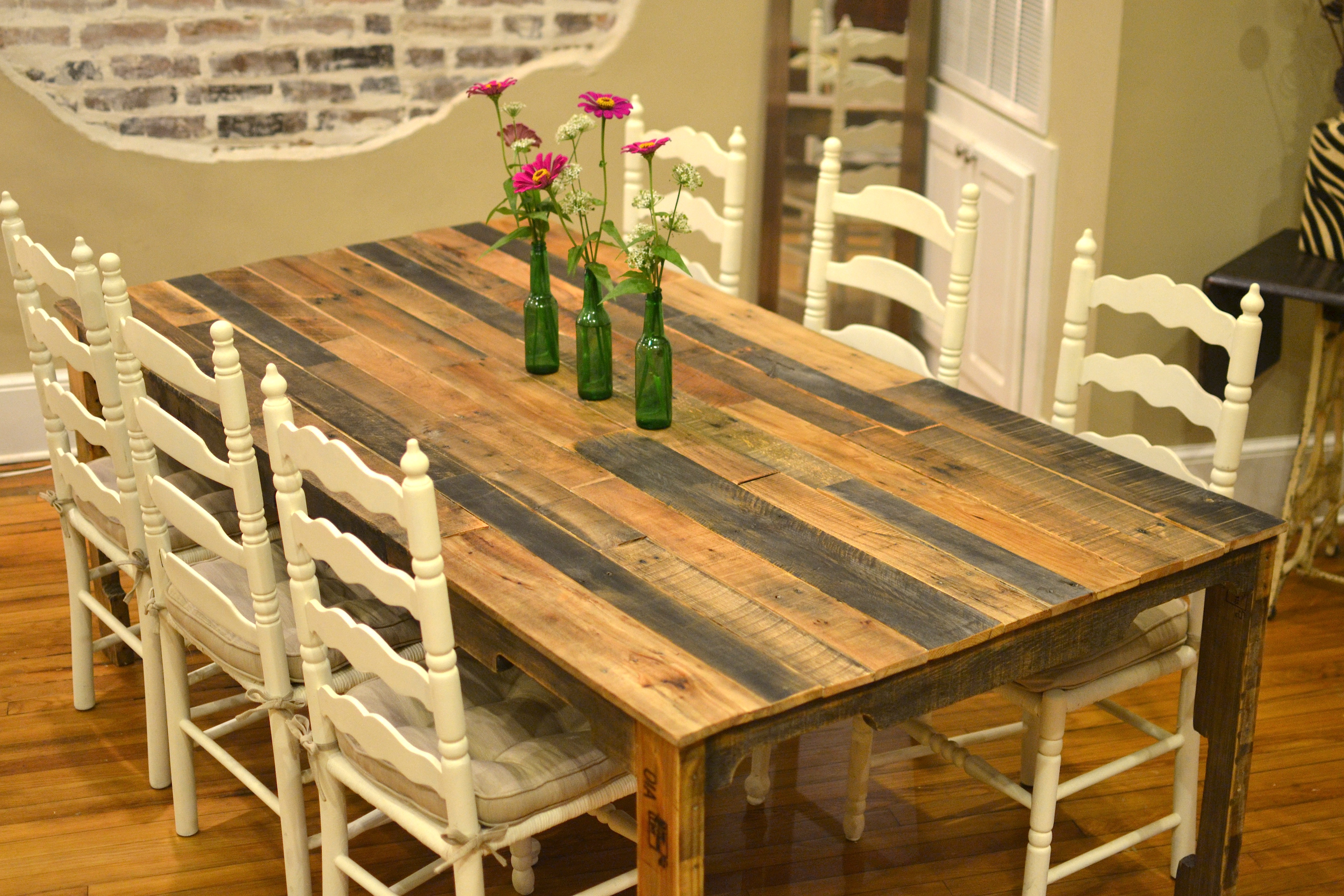 how to make a table from shipping pallets make kitchen table Harvest style dining table made from shipping pallets