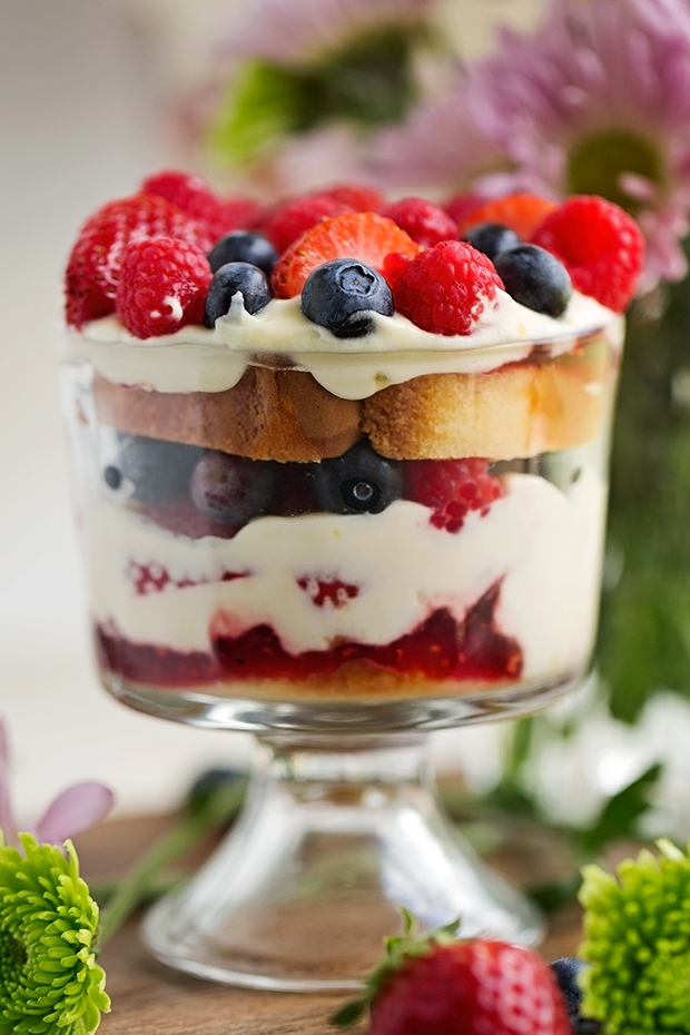 Mixed Berry Trifle Angel Food Cake