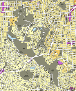 "The San Miguel Hills are San Francisco's central range of hills, and includes Twin Peaks, Mt Sutro, Mt. Davidson, Glen Canyon, and Laguna Honda. This zoning map shows the extent of publicly-owned lands (in gray, marked ""P"") that could form an interconnected public open space network."