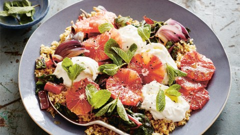 burrata and freekeh salad