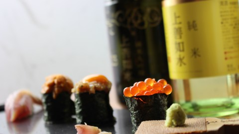 Drinking Sake With Sushi