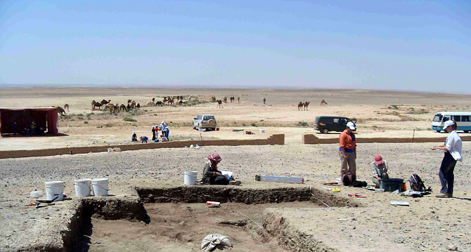 Excavation underway at Kharaneh IV site in eastern Jordan reveals 20,000-year-old huts and artifacts shedding new light on hunter-gatherers' lives. (Photo © by Lisa A. Maher)
