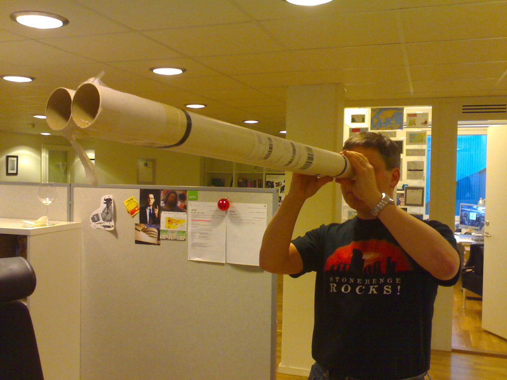I spy a guy with huge binoculars