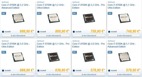 5GHz~5.2GHzでの動作保証付きヒートスプレッダ―変更のi7-8700Kをドイツのショップが販売