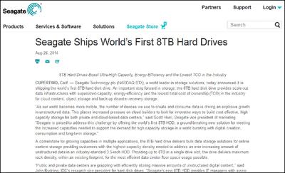 Seagateが世界初の8TB HDDの出荷開始